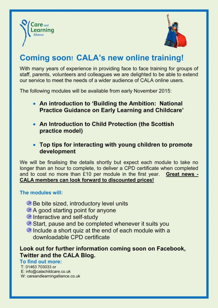 CALA's new online training - Care and Learning Alliance