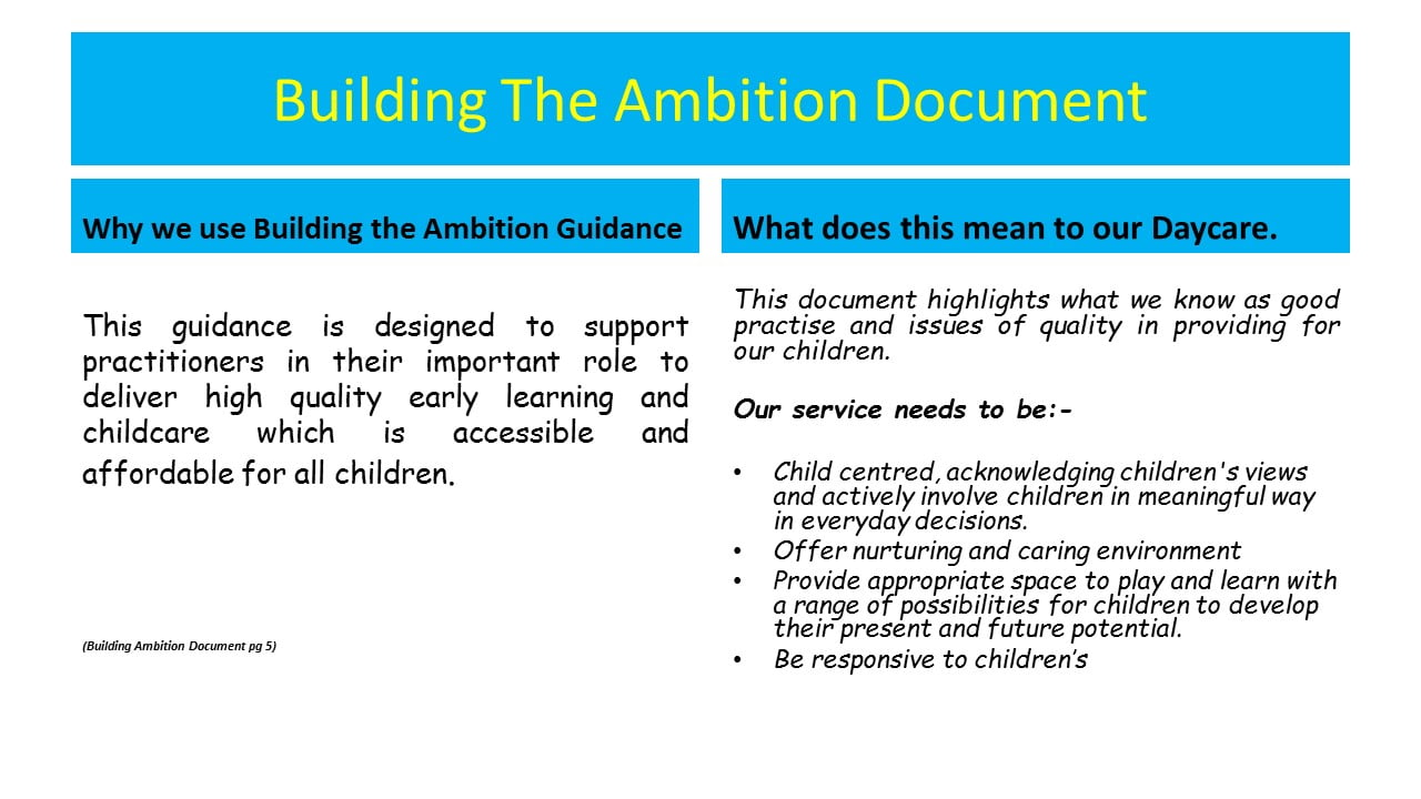 Building The Ambition In Early Learning And Childcare Care And
