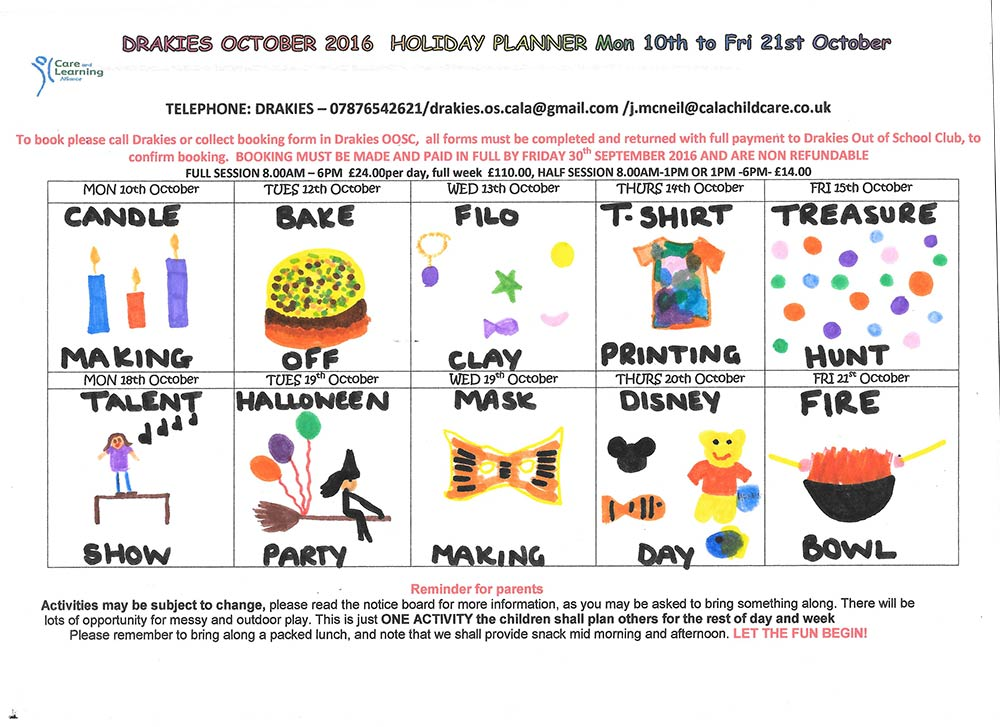 drakies out of school club - october holiday planner